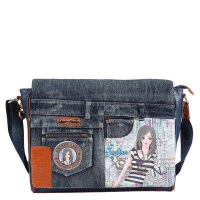 Wanda Denim Dolly Print Computer Messenger Bag by Nicole Lee
