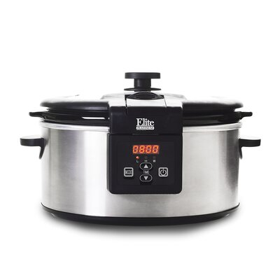 Platinum 6-Quart Stainless Steel Programmable Slow Cooker by Elite by Maxi-Matic