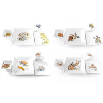 Dishes with Fishes Complete 16 Piece Dinnerware Set by Kim Rody Creations