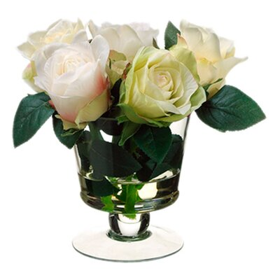 Rose in Glass Vase by Silk Flower Depot