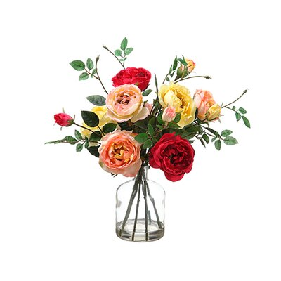 Rose in Glass Vase Mixed by Silk Flower Depot