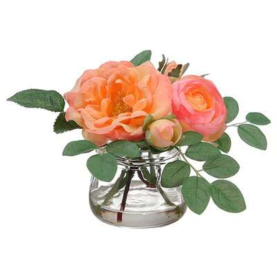 Ranunculus / Rose in Glass Vase by Silk Flower Depot