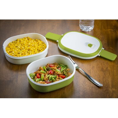 Double Stacked 3 Piece Rectangular Microwavable Lunch Bowl Set by Modernhome