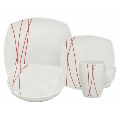 Lines Square Porcelain 32 Piece Place Setting by Melange