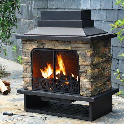 Felicia Steel Wood Outdoor Fireplace by Sunjoy