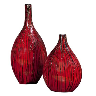 Textured Black Drizzled Accents Bamboo Vase in Red by Howard Elliott