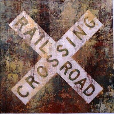 Railroad Crossing by Michael Longo Painting Print on Wrapped Canvas by Portfolio Canvas