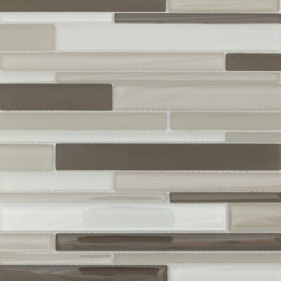 Strada Random Sized Glass Mosaic Tile in Gray and White by Martini Mosaic