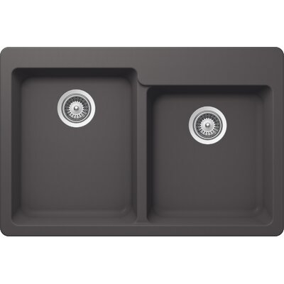 "Alive 33"" x 22"" Cristalite 60/40 Topmount Double Bowl Kitchen Sink Product Photo"