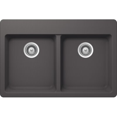 "Alive 33"" x 22"" Cristalite 50/50 Topmount Double Bowl Kitchen Sink Product Photo"