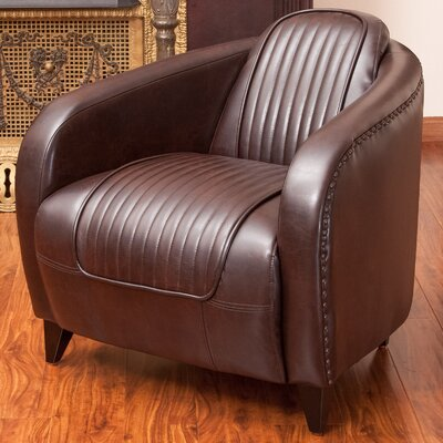 Manado Channeled Leather Club Chair by Home Loft Concepts