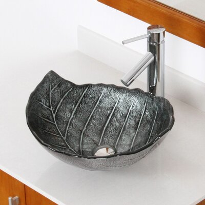 Hot Melted and Hand Painted Winter Leaf Shaped Bowl Vessel Bathroom Sink Product Photo