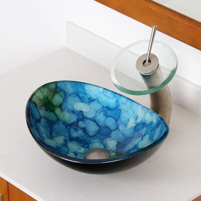 Hand Painted Watercolor Boat Shaped Oval Bottom Bowl Vessel Bathroom Sink Product Photo