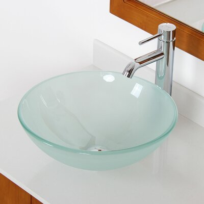 Bathroom Glass Bowl Sinks : Double Layered Tempered Glass Round Bowl Vessel Bathroom Sink by Elite