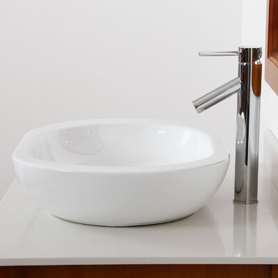 Ceramic Capsule-Shaped Bathroom Sink Product Photo