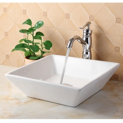 Ceramic Square Bathroom Sink Product Photo