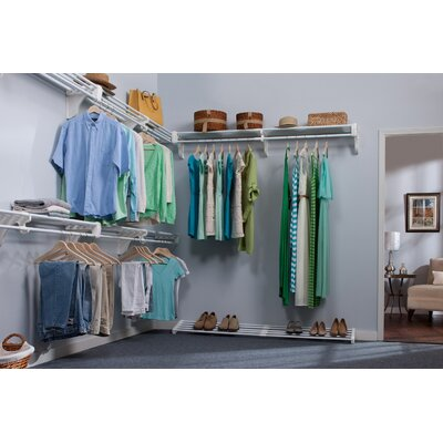 Expandable Walk-in Closet Organizer - 5 Closet Shelves & Rods and 4 End Brackets Product Photo