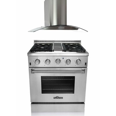 4.2 Cu. Ft. Gas Convection Range with Range Hood in Stainless Steel Product Photo