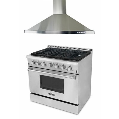 5.2 Cu. Ft. Gas Convection Range with Range Hood in Stainless Steel Product Photo