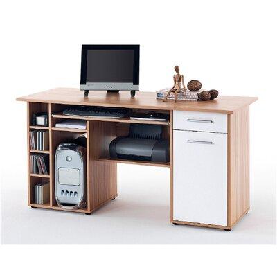 """CleverFurn Computer Schreibtisch """"Clara"""" in Weiß hochglanz / Samerberg-Buche"""