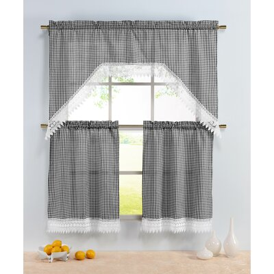 Checkered 3 Piece Embroidered Kitchen Valance and Tier Set Product Photo
