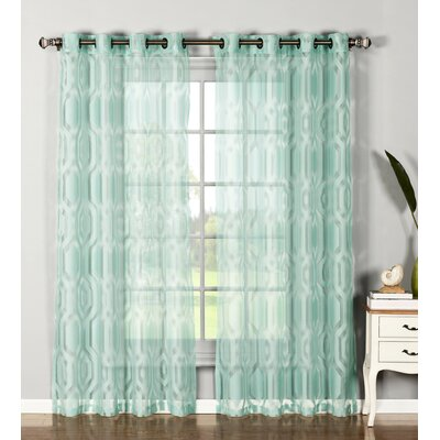 Dylan Cotton Blend Sheer Extra Wide Grommet Curtain Panels (Set of 2) Product Photo