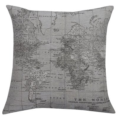 Map Throw Pillow by Three Posts
