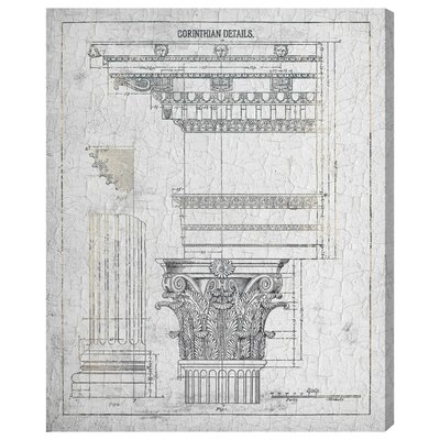 Corinthian Details Vintage Framed Wall Art on Canvas by Three Posts