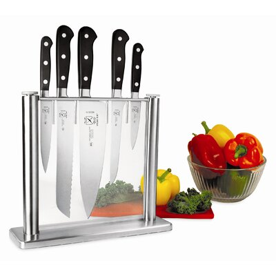 Mercer Cutlery Renaissance 6 Piece Stainless and Glass Forged Knife Block Set