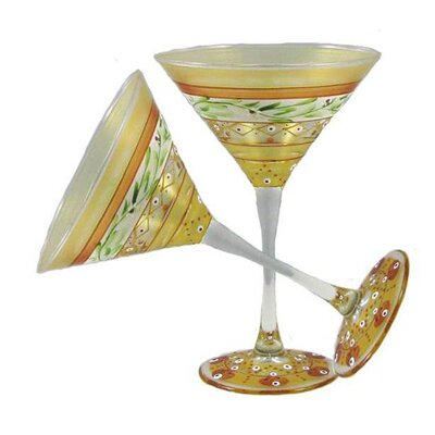 Mosaic Garland Martini Glass by Golden Hill Studio