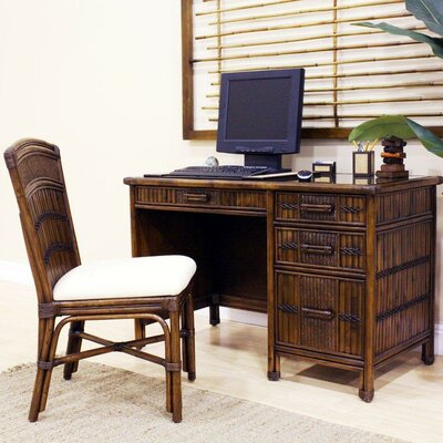 Hospitality Rattan Polynesian Computer Desk with Chair and Keyboard Tray
