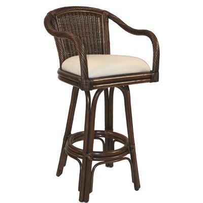 "Hospitality Rattan Key West 30"" Swivel Bar Stool with Cushion"