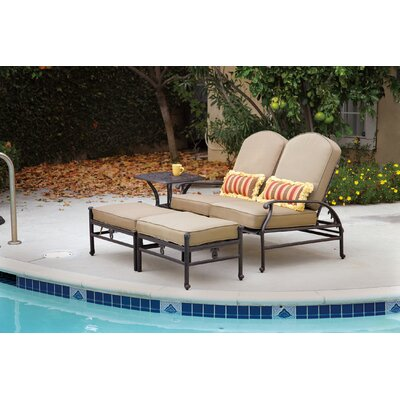 Catalina Loveseat and Double Ottoman Set with Cushions by Darlee