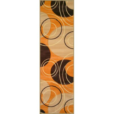 Well Woven Harmony Orange Bali Rings/Circles Geometric Area Rug
