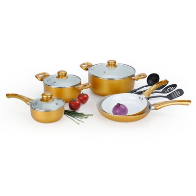 12 Piece Amunimum Ceramic Coated Cookware Set by Alpine Cuisine