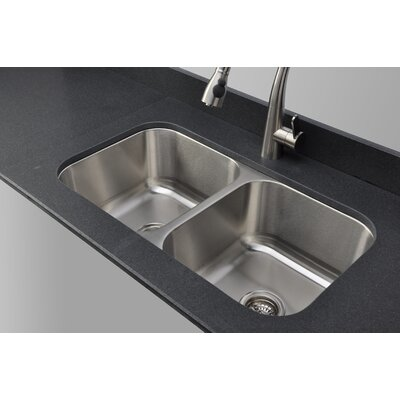 "Craftsmen Series 32.5"" x 32.13"" Equal Double Bowl Kitchen Sink Product Photo"