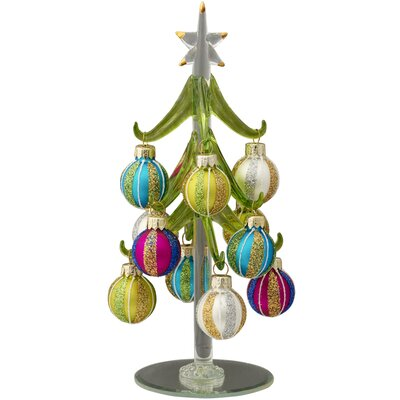 Glass Christmas Tree with 12 Ornaments