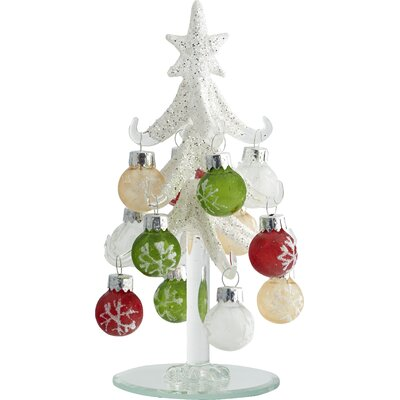 Frosted Christmas Tree with 12 Ornaments