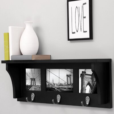 Riley Picture Collage Wall Shelf with 3 Metal Hooks by nexxt Design