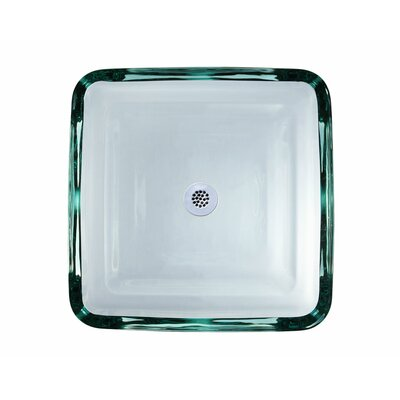 Ryvyr Transparent Tiered Square Glass Vessel Bathroom Sink