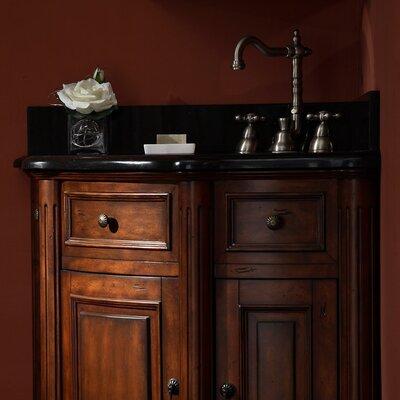 Ryvyr Malago Stone Top For Corner Vanity - Black Granite For Oval Undermount Sink