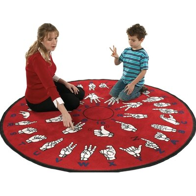 Flagship Carpets Educational Red Hands That Teach Area Rug