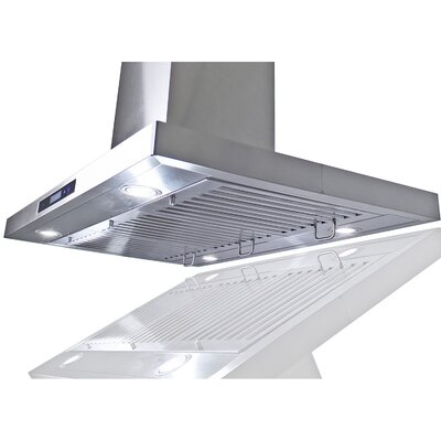 "35.4"" Convertible Island Range Hood in Stainless Steel Product Photo"
