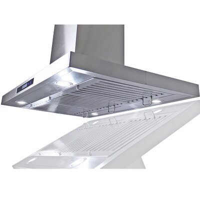 """35.4"""" Convertible Island Range Hood in Stainless Steel Product Photo"""