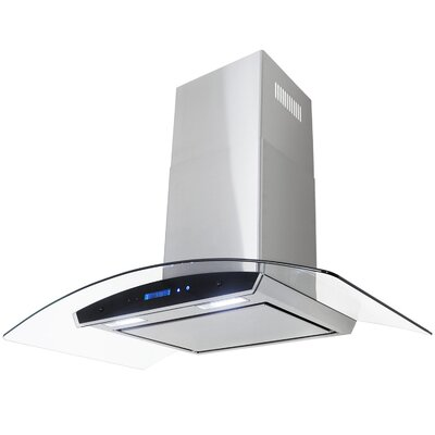 """35.4"""" Convertible Wall Mount Range Hood in Stainless Steel Product Photo"""