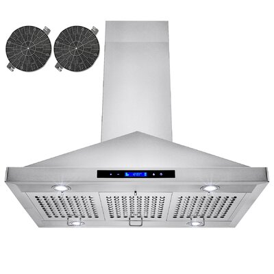 "35.4"" 870 CFM Convertible Island Range Hood in Stainless Steel Product Photo"