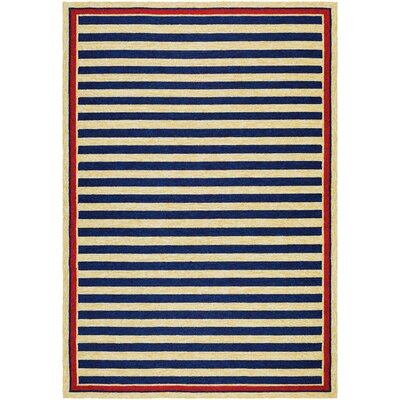 Covington Nautical Stripes Navy/Red Indoor/Outdoor Area Rug