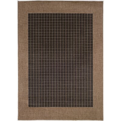 Recife Checkered Field Black Cocoa Indoor/Outdoor Area Rug by Couristan