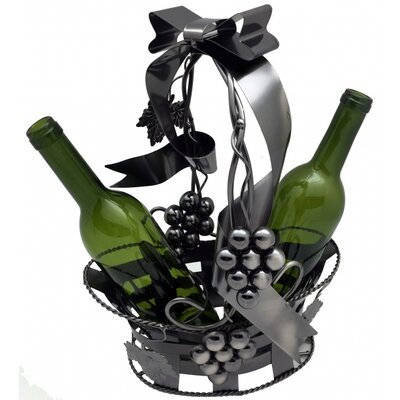 Basket Holding 2 Bottle Tabletop Wine Rack by Three Star