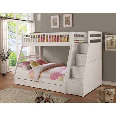 Magnolia Home Twin Over Full Standard Bunk Bed with Drawer